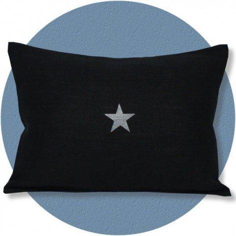Coussin en lin noir étoile argent 30x40 cm