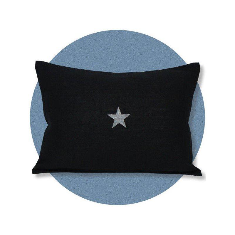 coussin lin noir motif étoile 30x40 cm