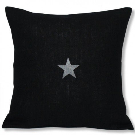 Housse de coussin en lin noir étoile argent 40x40 cm