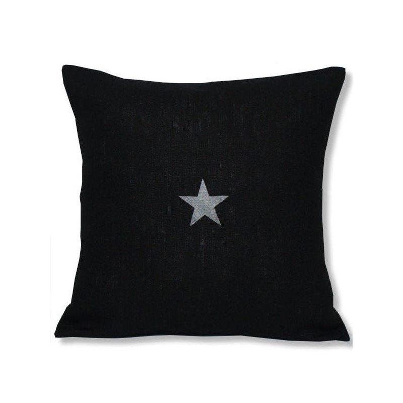 coussin lin noir motif étoile 40x40 cm