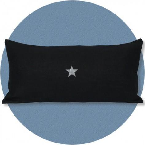 Coussin en lin noir étoile argent 30x60 cm