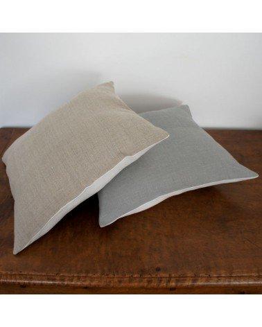 coussin lin bicolore 40x40 cm
