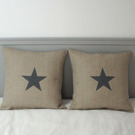 housse coussin lin naturel étoile pochoir 40x40 cm