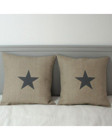housse coussin 40x40 cm lin naturel avec étoile