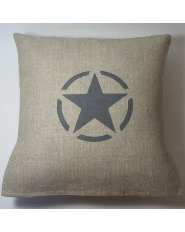 housse coussin lin army 40x40 cm