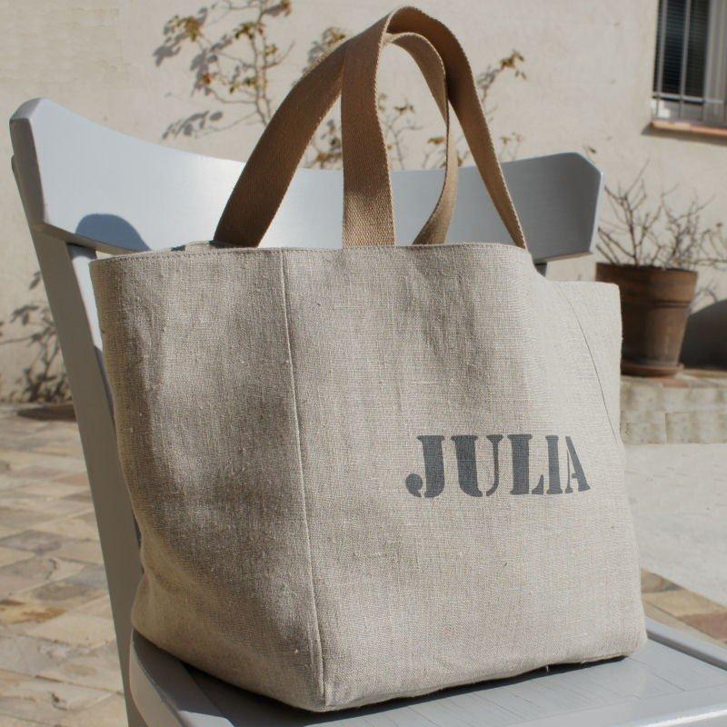 cabas personnalisable en lin, sac personnalisé
