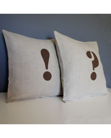 housse  coussin lin point exclamation 40x40 cm