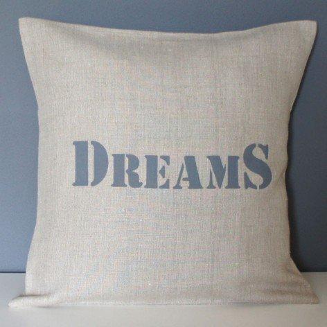 housse coussin lin inscription dreams 40x40 cm