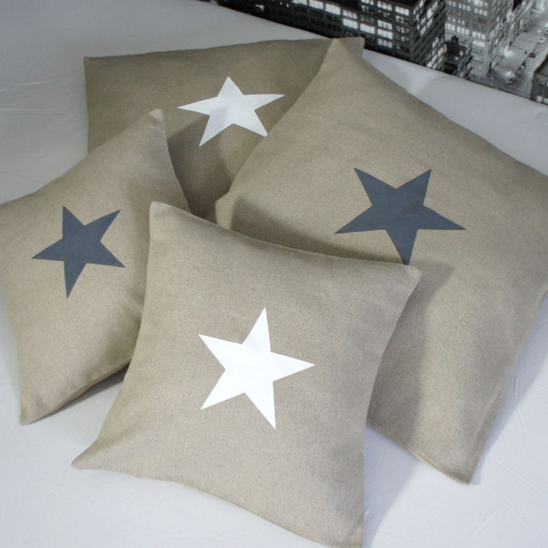 Housse de Coussin motif étoile 40x40 cm en Lin