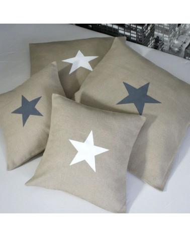 housse coussin motif étoile 40x40 cm en lin