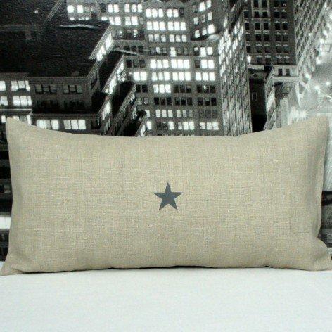 coussin lin motif étoile 30x60 cm