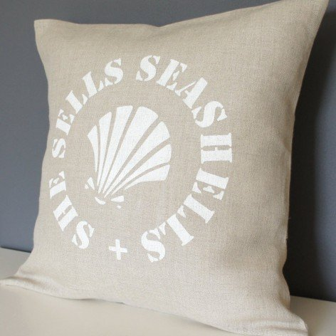 coussin lin motif coquillage 40x40 cm