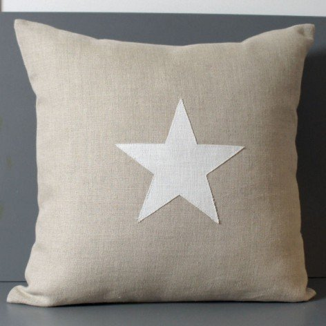Coussin lin avec étoile en lin 10 coloris