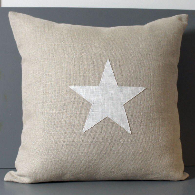 housse de coussin lin 40x40 cm motif étoile lin