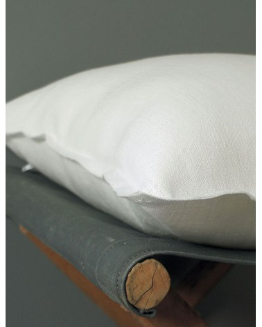 Coussin lin blanc uni bords bruts