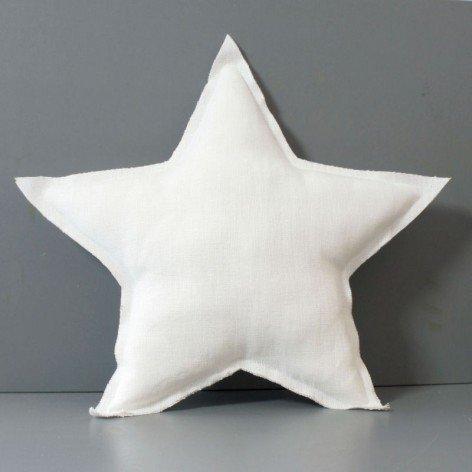 Coussin étoile lin bords bruts