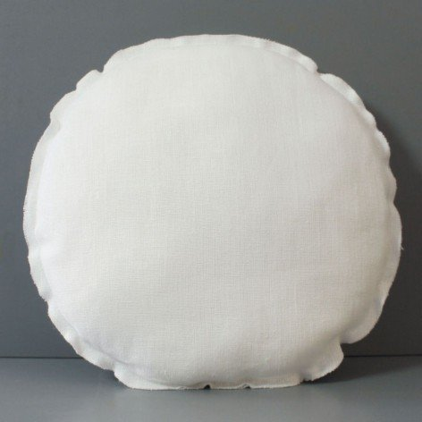 Coussin rond en lin blanc