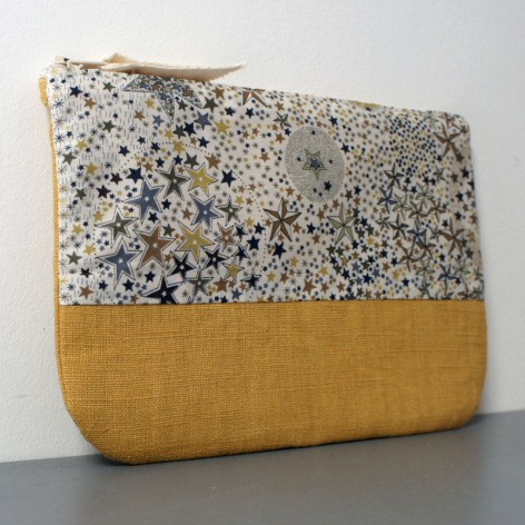 POCHETTE LIBERTY ET LIN MOUTARDE