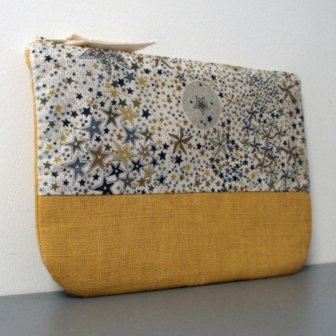 Trousse en Liberty et lin moutarde