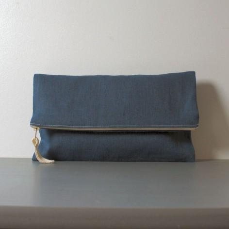 Grande pochette en lin bleu