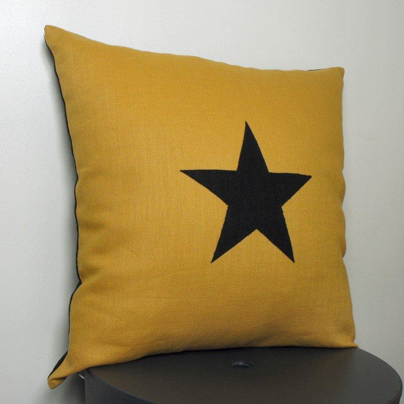 Coussin lin jaune moutarde étoile noire