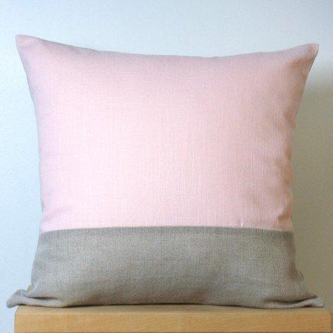 housse de coussin lin rose et naturel 40x40 cm