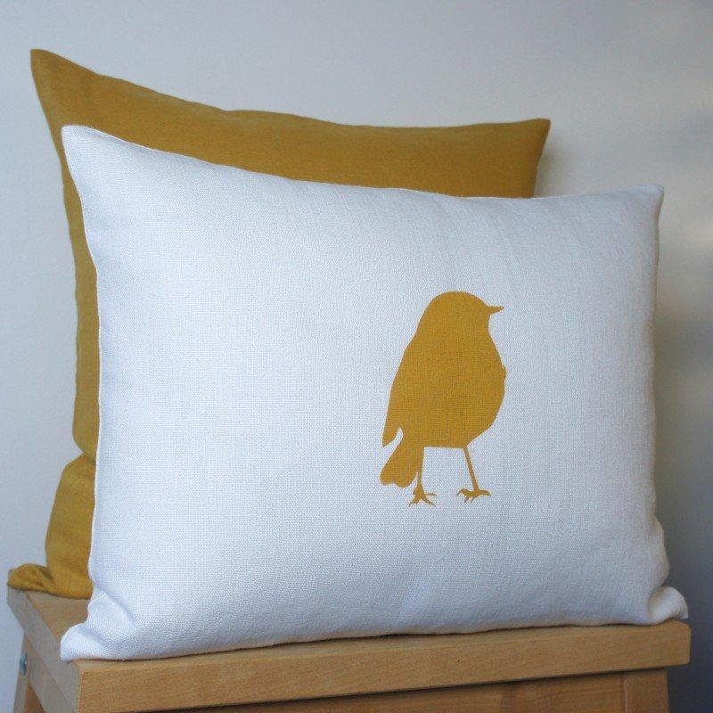 coussin lin motif oiseau