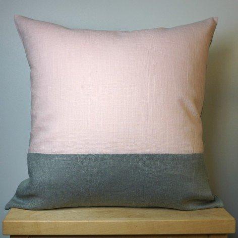 housse de coussin lin gris et rose 40x40 cm