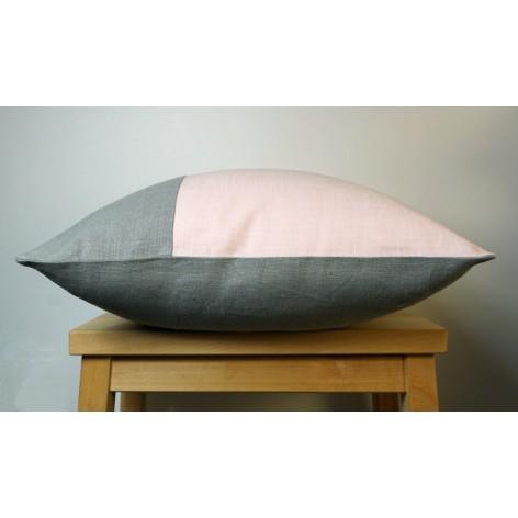 Housse de coussin gris et rose 40x40 cm
