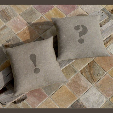 Housse de coussin lin point d'interrogation