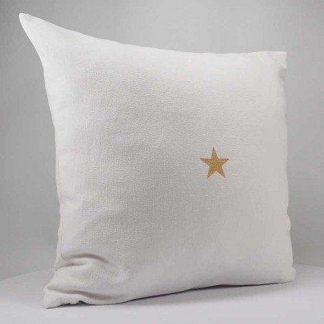 Housse de coussin en lin blanc étoile dorée