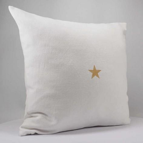 Housse de coussin 40x40 cm en lin blanc étoile dorée