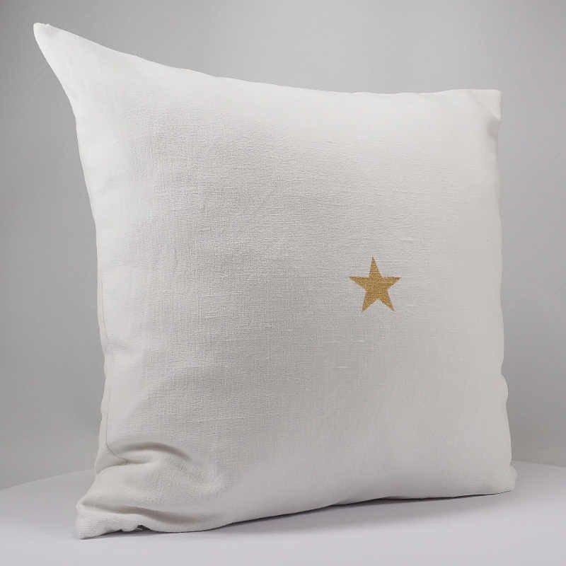 housse de coussin lin blanc 40x40 cm motif étoile dorée
