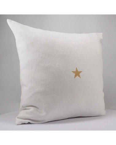 housse de coussin 40x40 cm fait main lin blanc motif étoile dorée
