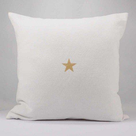 Coussin en lin blanc étoile dorée