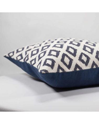 coussin décoratif design graphique 40x40 cm jacquard bleu