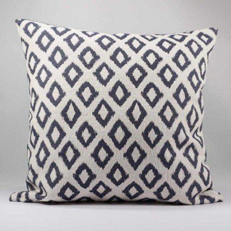 coussin décoratif design graphique jacquard bleu 40x40 cm
