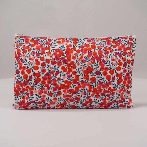 Trousse maquillage en Liberty Wiltshire rouge