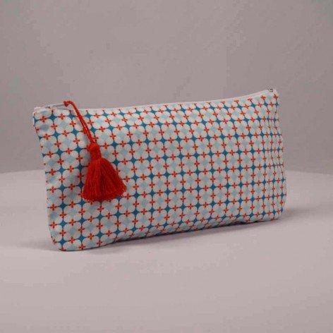 Pochette graphique pompon rouge