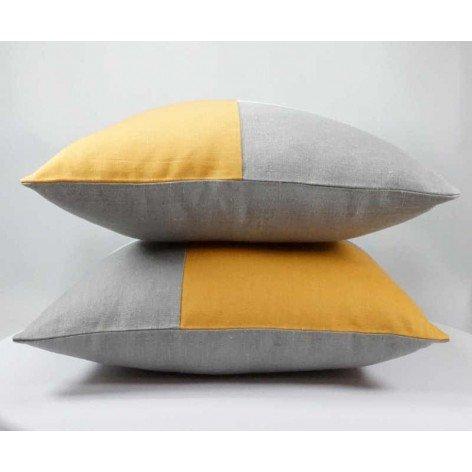 coussin graphique design en lin moutarde, gris et blanc, 40x40 cm