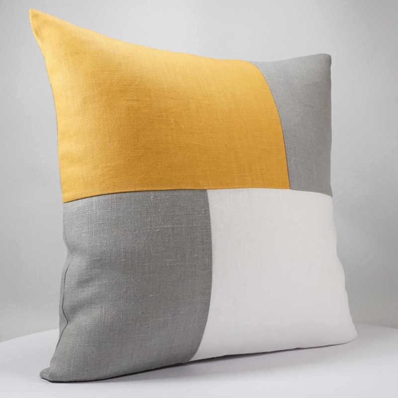 coussin design graphique en lin blanc gris et moutarde 40x40 cm. Black Bedroom Furniture Sets. Home Design Ideas