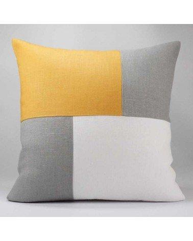 Coussin graphique gris blanc et moutarde