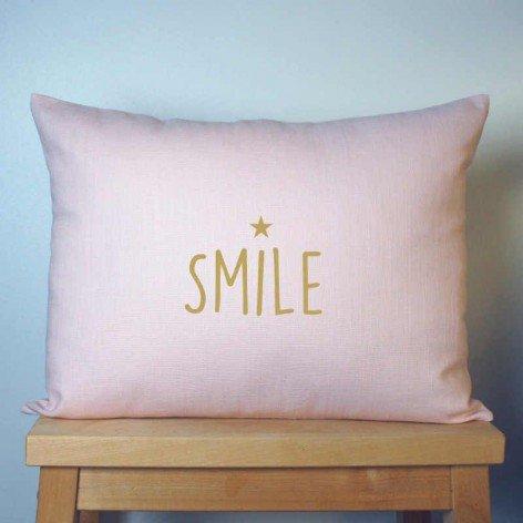 COUSSIN SMILE EN LIN ROSE