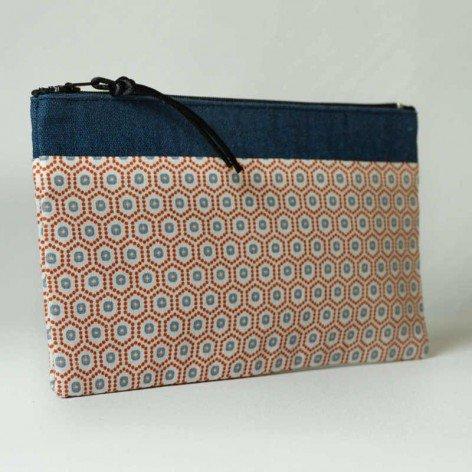 Pochette géométrique lin bleu