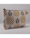 pochette tissu ananas doré