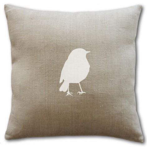 Housse de coussin en lin naturel avec un oiseau blanc