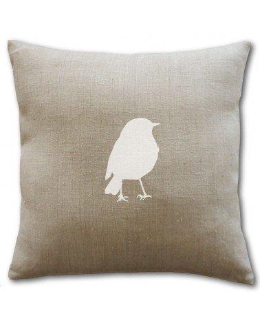 Coussin en lin naturel avec un oiseau blanc