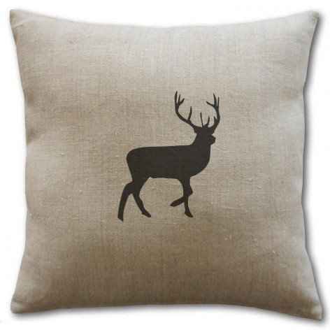 Coussin lin motif cerf