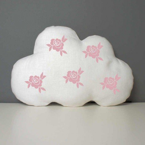 Coussin nuage en lin blanc décoré de roses