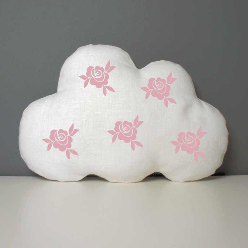 Coussin-nuage-en-lin-blanc-décoré-de-roses